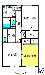 埼玉県上尾市原新町の賃貸マンションの間取り
