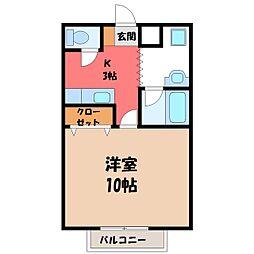 栃木県宇都宮市日の出2丁目の賃貸マンションの間取り