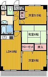 東京都福生市加美平1丁目の賃貸マンションの間取り