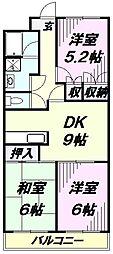 埼玉県所沢市美原町1丁目の賃貸マンションの間取り