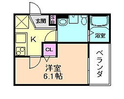 大阪府豊中市原田元町2丁目の賃貸アパートの間取り