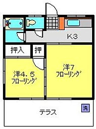 神奈川県横浜市港北区日吉1丁目の賃貸アパートの間取り