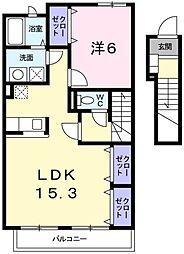泉北高速鉄道 栂・美木多駅 徒歩9分の賃貸アパート 2階1LDKの間取り