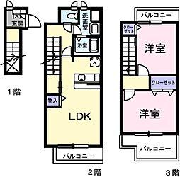 愛知県豊川市御油町井ノ口の賃貸アパートの間取り