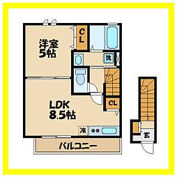 JR南武線 津田山駅 徒歩7分の賃貸アパート 2階1LDKの間取り