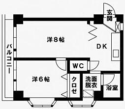 福岡県福岡市博多区上呉服町の賃貸マンションの間取り