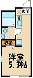 JR埼京線 板橋駅 徒歩7分の賃貸マンション 2階1Kの間取り