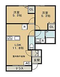 西武池袋線 稲荷山公園駅 徒歩16分の賃貸アパート 1階2LDKの間取り