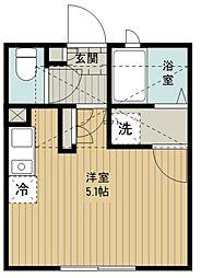 (仮称)西東京市富士町5丁目新築アパート 2階ワンルームの間取り