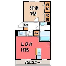 栃木県宇都宮市下栗町の賃貸アパートの間取り
