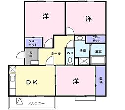 愛知県岡崎市小呂町字ミタライの賃貸マンションの間取り
