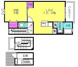 兵庫県高砂市神爪1丁目の賃貸アパートの間取り