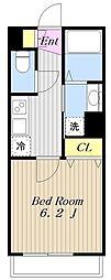 小田急小田原線 町田駅 徒歩10分の賃貸アパート 1階1Kの間取り