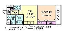 阪急千里線 北千里駅 徒歩20分の賃貸マンション 2階1DKの間取り