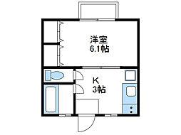 神奈川県伊勢原市笠窪の賃貸アパートの間取り