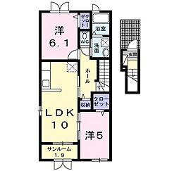 新潟県新発田市東新町4丁目の賃貸アパートの間取り