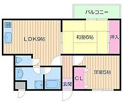 大阪府大阪市住吉区長居西2の賃貸マンションの間取り