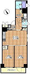 東京メトロ有楽町線 月島駅 徒歩3分の賃貸マンション 7階2LDKの間取り
