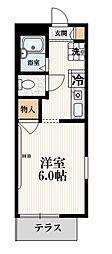 JR山手線 大塚駅 徒歩5分の賃貸マンション 1階1Kの間取り