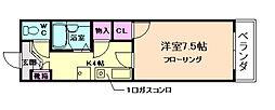 大阪府箕面市小野原東3丁目の賃貸マンションの間取り