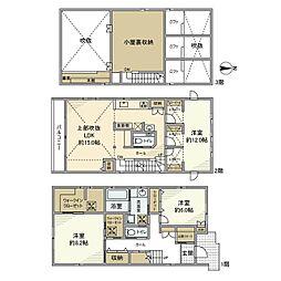 JR南武線 矢野口駅 徒歩8分の賃貸一戸建て 2階3LDKの間取り
