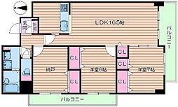 北大阪急行電鉄 桃山台駅 徒歩11分の賃貸マンション 5階3LDKの間取り