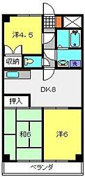 フラワーマンション片倉[406号室]の間取り