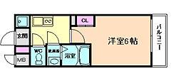 JR大阪環状線 福島駅 徒歩7分の賃貸マンション 9階1Kの間取り