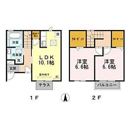 愛知県豊橋市小松町の賃貸アパートの間取り