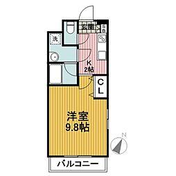 クレール東戸塚 1階1Kの間取り