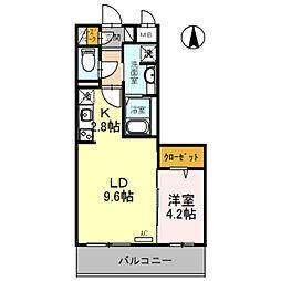 仮称D-room旭ヶ丘町 4階1LDKの間取り