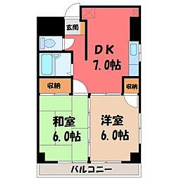 栃木県宇都宮市宿郷2丁目の賃貸マンションの間取り