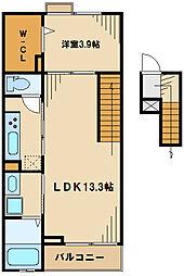 パレスアムール2 4階1LDKの間取り