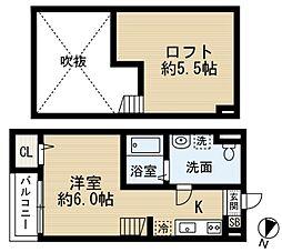 JR阪和線 浅香駅 徒歩9分の賃貸アパート 1階ワンルームの間取り