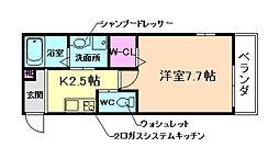 阪急宝塚本線 池田駅 徒歩7分の賃貸マンション 1階1Kの間取り