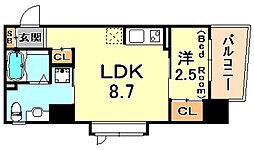 シティフラット六甲道2 4階1LDKの間取り