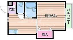 阪急千里線 吹田駅 徒歩5分の賃貸アパート 2階1Kの間取り