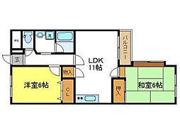 平川マンション 仲介手数料10800円 専用消毒も不要[2階]の間取り
