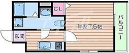 Osaka Metro谷町線 千林大宮駅 徒歩5分の賃貸マンション 3階1Kの間取り