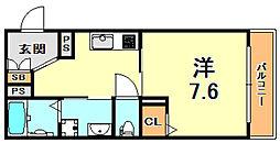 阪神本線 杭瀬駅 徒歩10分の賃貸マンション 2階1Kの間取り