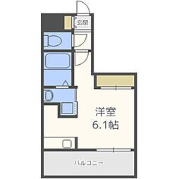 MODERN PALAZZO 大濠スクエア 2階ワンルームの間取り