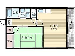 ガーデンハイツ淡路[1階]の間取り