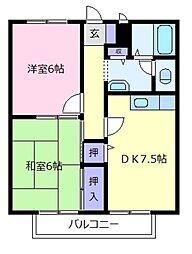 大阪府羽曳野市伊賀6の賃貸アパートの間取り