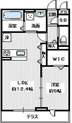南海高野線 金剛駅 徒歩7分の賃貸アパート 1階1LDKの間取り
