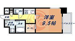 Osaka Metro四つ橋線 花園町駅 徒歩13分の賃貸マンション 4階1Kの間取り