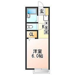 JR阪和線 東佐野駅 徒歩30分の賃貸アパート 1階1Kの間取り