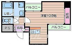 大阪府大阪市中央区徳井町1丁目の賃貸マンションの間取り