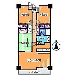 南海高野線 百舌鳥八幡駅 徒歩1分の賃貸マンション 3階3LDKの間取り