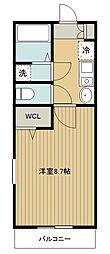 西武新宿線 新所沢駅 徒歩11分の賃貸アパート 2階1Kの間取り