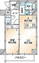 コンシェリア・デュー勝どき 6階1LDKの間取り